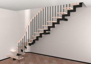 металлическая лестница на косоуре на заказ