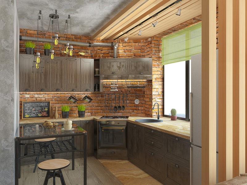 кухонные шкафы в стиле лофт на заказ