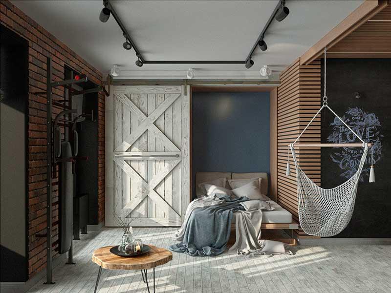 шкаф в стиле лофт в спальню на заказ