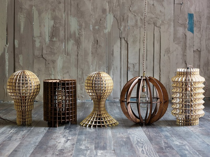 Деревянные светильники в стиле лофт