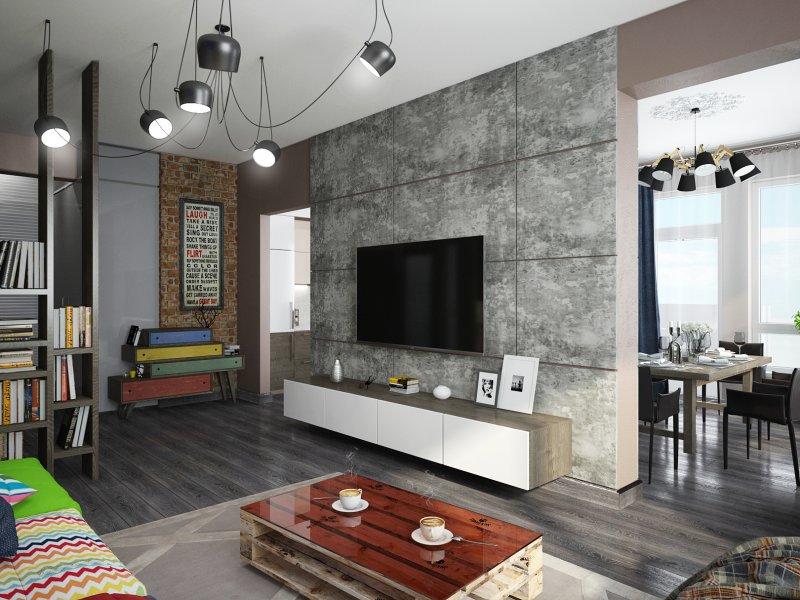 Дизайн проект гостиной в стиле лофт