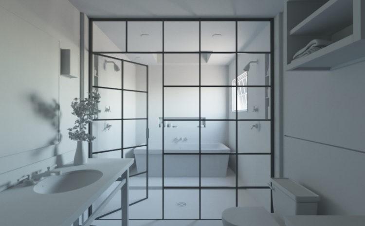 перегородки лофт в ванную комнату на заказ