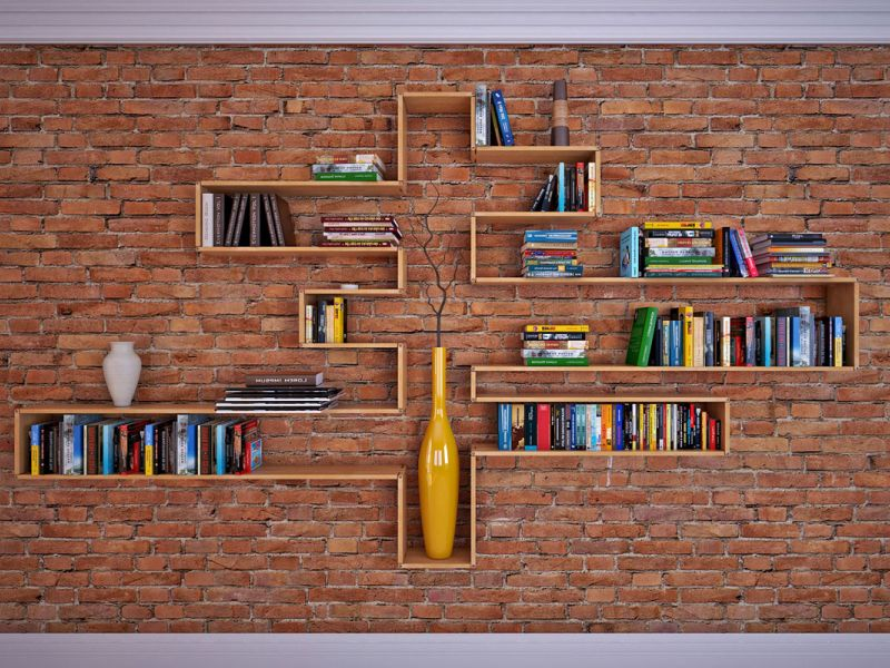 Полки для книг в стиле лофт