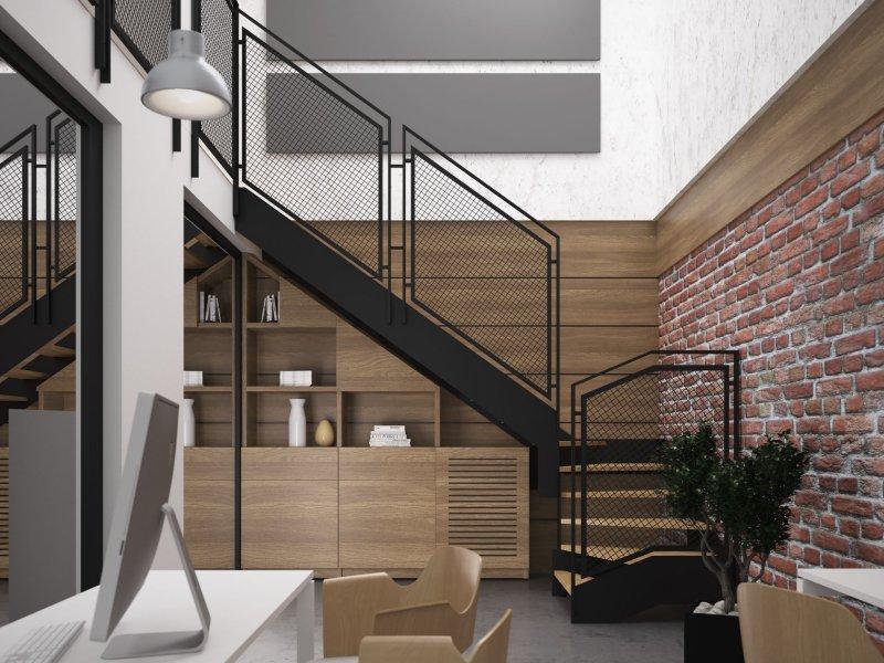 лестница в стиле лофт из металла на заказ