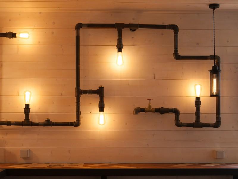 Светильник в стиле лофт из труб