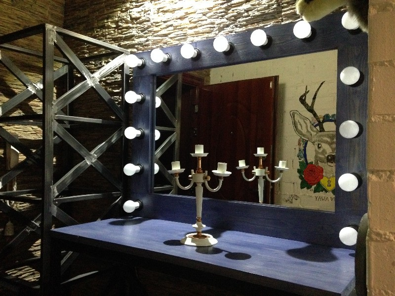 Зеркало лофт с подсветкой