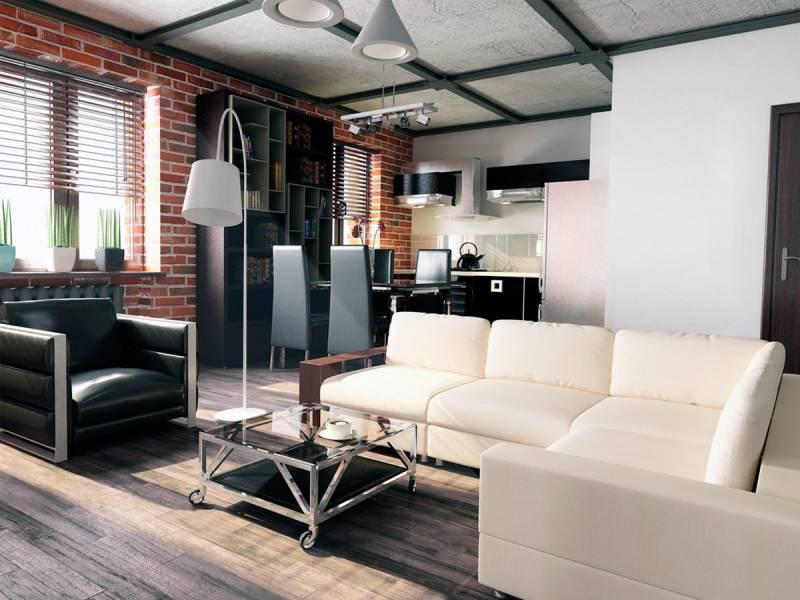 Дизайн лофт в однокомнатной квартире