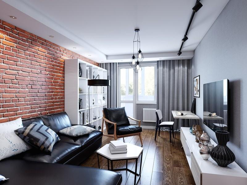 Лофт дизайн однокомнатной квартиры