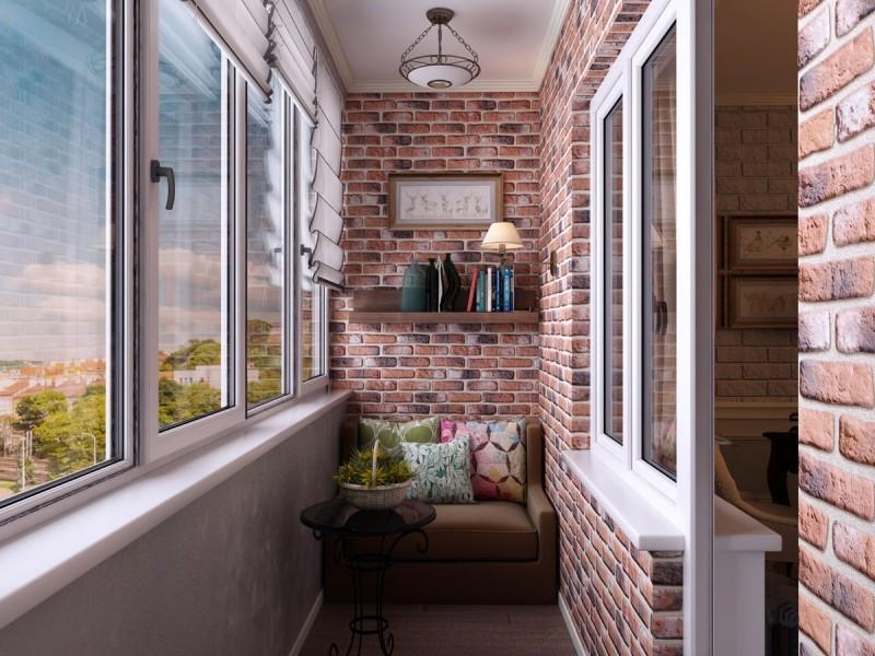 Отделка балкона лофт