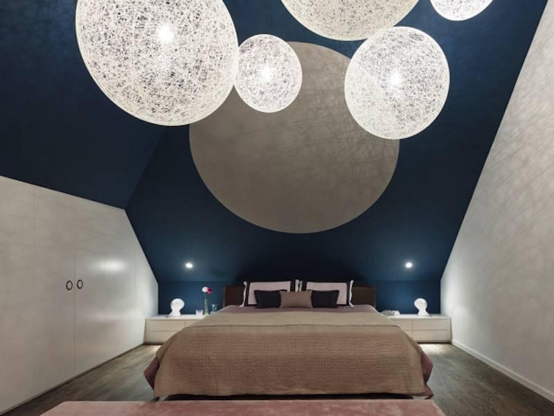 Свисающие светильники в спальне в стиле лофт