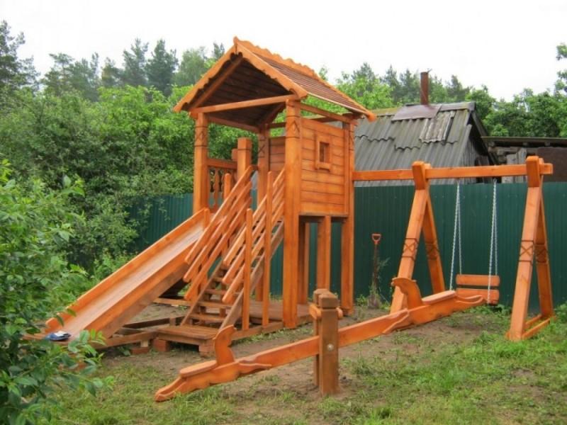 Детский игровой комплекс для дома деревянный