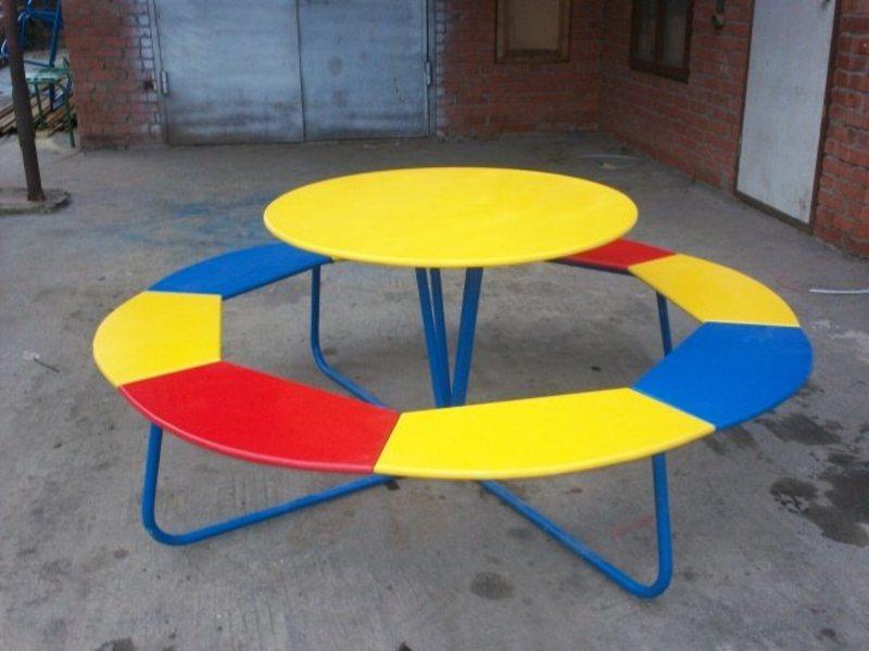 Столик со скамейками детский уличный