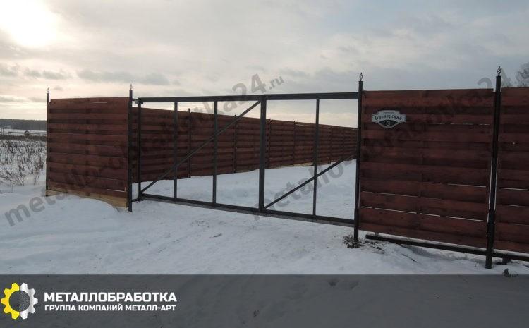 Откатные ворота на винтовых сваях