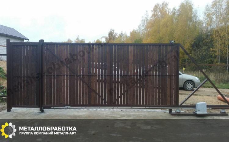 Откатные ворота на сваях под ключ