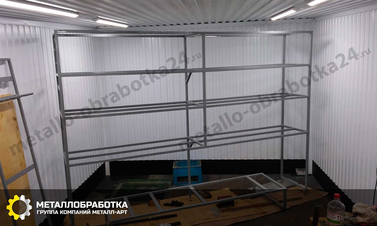 металлические стеллажи для гаража на заказ
